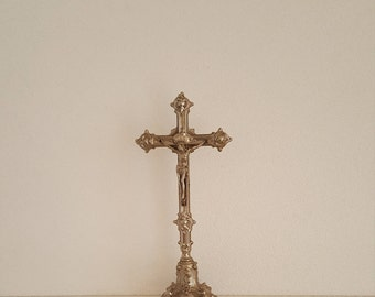 """13.8"""" Antique Silvered French Religious Metal Altar Crucifix Jesus Christ Baroque Standing Cross."""