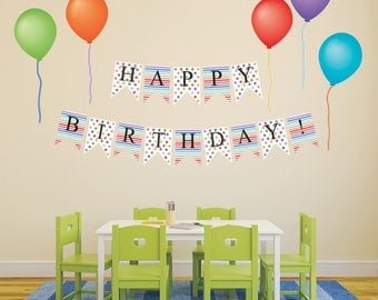 Wall Decals Happy Birthday Bunting Flags and Balloons, Removable and Reusable Fabric Peel and Stick Wall Stickers