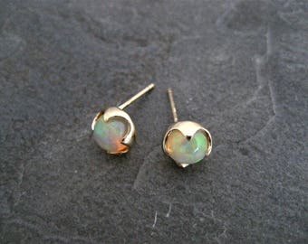 Welo opal studs, 14k yellow gold, Ethiopian opal, October birthstone, round opal studs, multi color cabochon, gold studs, genuine opal