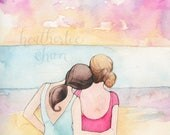 Best Friends Art - Sisters Art at the Beach - Watercolor Painting Print