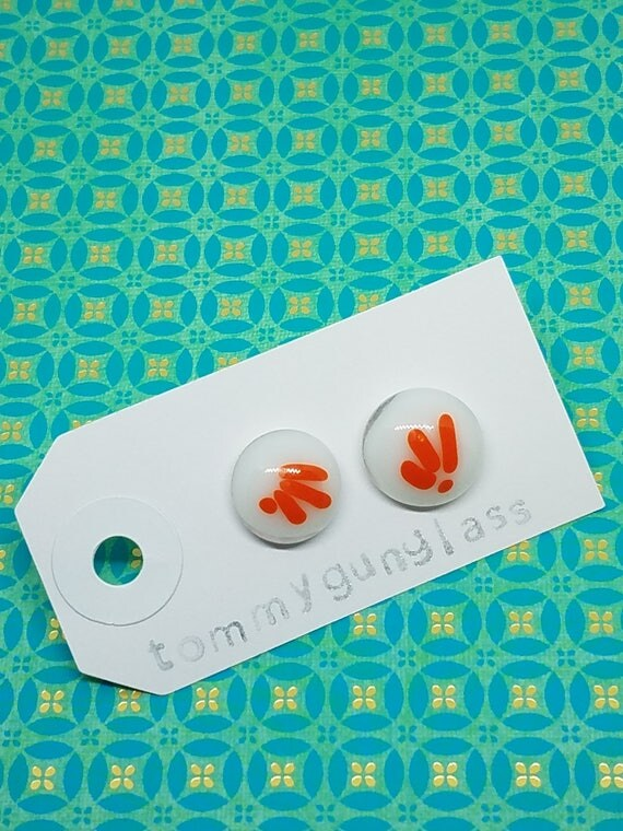 Red andWhite Glass Stud Earrings