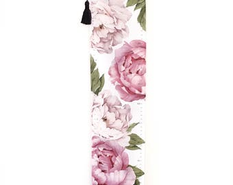 NEW! Growth chart - Handmade canvas peony rose hanging height chart - Peonies - Girls room decor - Pink roses - Flowers - Height chart