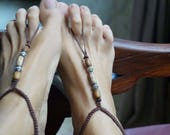 Earth Tone Women and Men Barefoot Sandals, BohoFoot Jewelry, Macrame Anklet, 1 Pair