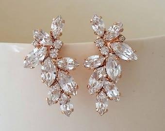 Bridal rose gold earrings,Swarovski Crystal earrings,Bridal Cluster Studs,Swarovski Bridal earrings,White Crystal Vintage Earrings,Gatsby