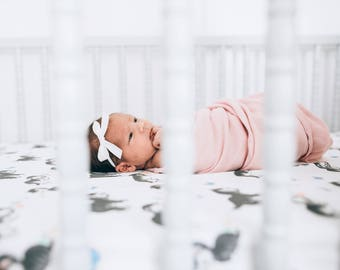 Newborn Bow, Baby Headband, Newborn Headband, Baby Girl Headband, White Bow, Baby Bows, Baby Bow Headband, Schoolgirl Bow, Christening Bow