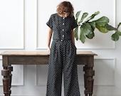 Polka Dot Linen Suit  - Women's Linen Suit - Polka Dot Linen Culottes - Cropped Linen Blouse - Linen Suit -  Handmade by OFFON