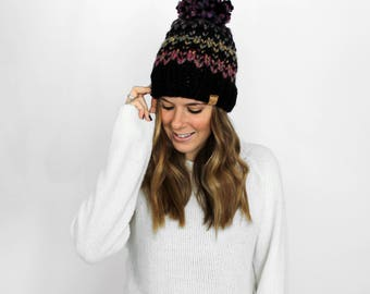 Knit Hat Pom Beanie Black Rainbow- Tacoma Hat