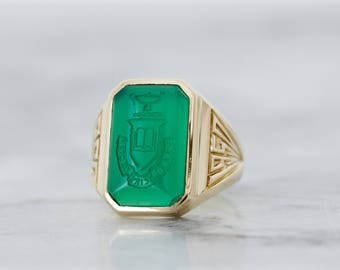 Antique Signet Ring | Chrysoprase Statement Ring | Vintage Sage College Class Ring | 1950s Estate Jewelry | 10K Yellow Gold | Size 7.25