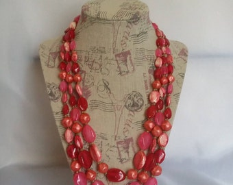 60s three strand bead necklace red pink bead necklace sparkly bead necklace vintage necklace womens jewelry