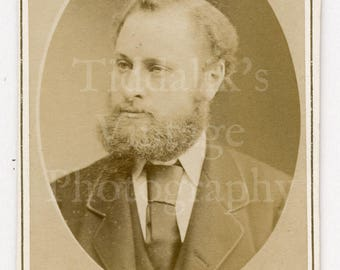 CDV Photo Victorian Young Bearded Handsome Smart Man Suited Identified, 1878 - Reutlinger of Paris France - Carte de Visite Antique Photo