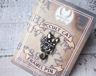 Occult Cat Enamel Pin - ( Cute goth gold black ouija cats kitty halloween pins )