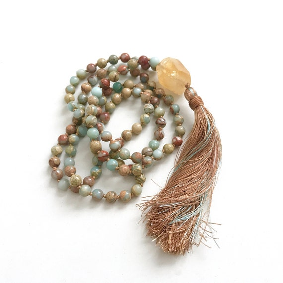 Citrine Mala Bead Necklace, African Opal Jasper and Silk Tassel Mala, Raw Citrine Guru Bead Mala, 108 Bead Meditation Mala, Yoga Mala Beads