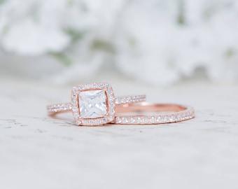 Rose Gold Halo Engagement Ring - Sterling Silver Wedding Ring - Small Ring - Wedding Ring Set - Cushion Cut Ring - 1/2ct Ring