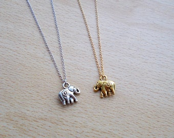 Animal pendant etsy gold or silver elephant necklace tiny cute animal pendant necklace gift for her mozeypictures Images