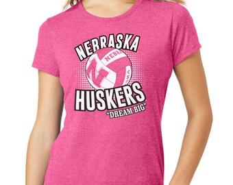 Women's Nebraska Huskers Tri-Blend Tee Shirt Cornhusker Ladies Apparel Husker Volleyball Gear Breast Cancer Awareness T-Shirt