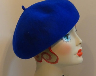 French Beret 1930's Glamour Fine Wool Woman's Royal Blue