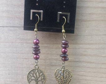 Red Garnet Earrings, Garnet Earrings, Red Stone Earrings, Red Gemstones, Healing Stone Beads, Charm Earrings, Tree Charm Earrings - 00089
