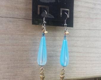 Blue Mermaid Earrings, Teardrop Earrings, Beaded Earrings, Dangle Earrings, Mermaid Charms, Charm Earrings, Upcycled Earrings - 00175