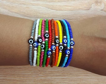 Evil Eye Bracelet, Evil Eye Beaded Bracelet, Evil Eye Stretch Bracelet, Seed Bead Bracelet, Evil Eye Seed Bead Bracelet, Dainty Evil Eye
