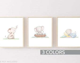 Nursery art, Set of 3 Poster, Baby room wall art, Elephant prints set of 3, Baby shower gift
