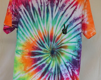Adult Size S - Ready To Ship - Unisex - Bright Spiral - Tie Dyed - T-shirt - 100% Cotton - FREE Shipping within Aus