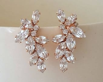 Bridal rose gold earrings,Swarovski Crystal earrings,Bridal Cluster Studs,Swarovski Bridal earrings,White Crystal Vintage Earrings,Gatsby