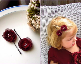 2 Wine Burgundy Flower Girl Hair Pins Toddler, Small Chiffon Lace Fabric Clip for Girls, Maroon Red Bridesmaid, Tiny Floral hairpieces 1""
