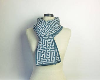 A-maze-ing, science scarf, maze, winter wool scarf, puzzles, computer science, Australian
