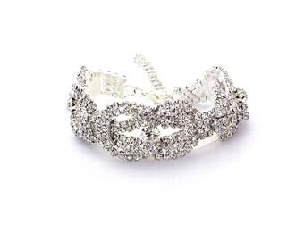 Swarovski Twist Bracelet, Rhinestone Bracelet,Crystal Bracelet, Wedding Bracelet, Silver
