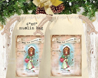 Vintage Nativity Muslin Gift Bag  4x6 / Baby 1st CHRISTMAS Gift Card Holder / Party Favor Bag Sack / Hot Cocoa Packet Holder / QTY DISCOUNT