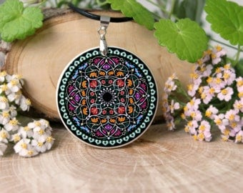Abstract Colorful Flowery Ornament Necklace, Polymer Clay, Flowery Necklace