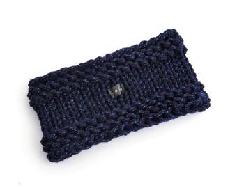 SPARKLY Navy Blue Headband Ear Warmer. Handmade sparkle chunky hand knit glittery earwarmer. Metallic thread acrylic yarn 9 Colours S/M/L/XL