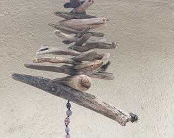Driftwood Mobile/Beach House Decorations/mobile with beads/Garden and Patio decor/Drift Ashore Treasures