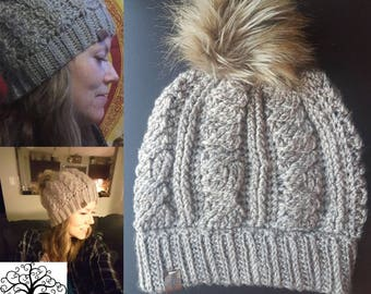 Cabled Pom Slouchy Beanie
