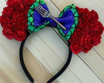 Floral Little Mermaid Inspired Ears, Floral Ears, Mermaid Ears, Little Mermaid Ears, Red Floral Ears