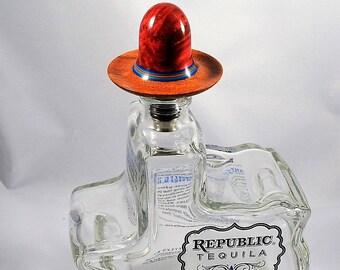 Sombrero Bottle Stopper, Buckeye Burl, Mesquite and Stainless Steel