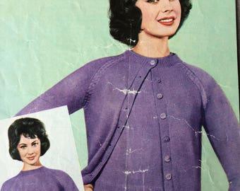 "vintage knitting pattern 1950's Bestway 3359 Raglan Twinset 3-ply 34-42"""