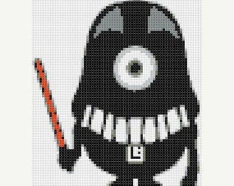 minion Cross Stitch Pattern Pdf darth vader Cross Stitch star wars pattern - 69 x 82 stitches - INSTANT Download - B902