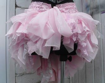 Light Pink tattered bustle skirt Rara Skirt Mori Girl Pixie skirt Fairy skirt Psy Trance skirt Steampunk Kawaii style Gothic Lolita OOAK