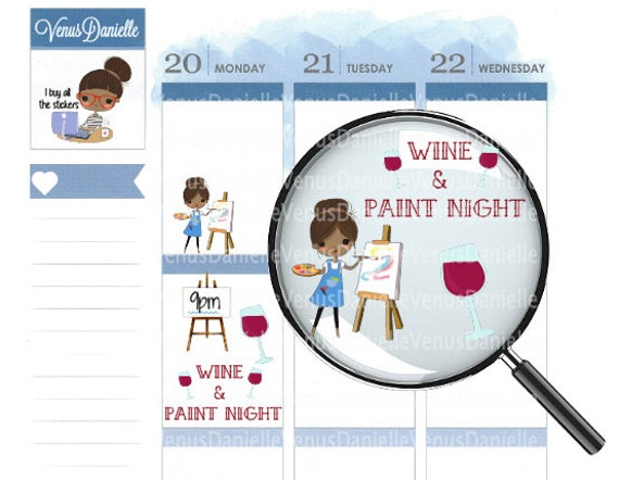 32 paint night planner stickers wine stickers wine and for Paint planner