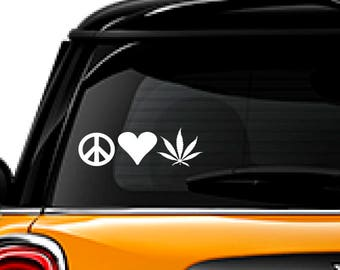 Peace Love Weed decal, FREE SHIPPING, Pot sticker, marijuana decal, home decor, car sticker, yeti, laptop sticker #181