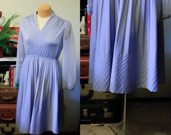 70's does 40's lavender sheer sleeve dress    pleated    vee neck