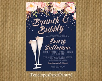 Elegant Navy Brunch and Bubbly Bridal Shower Invitation,Rose Gold,Pink,Blush,Roses,Confetti,Shimmery,Personalize,Printed Invitation,Envelope