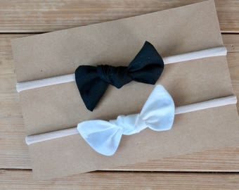 Knot Bow Set of 2, Small, baby bow, soft, nylon headband, clip, infant, toddler, baby gift