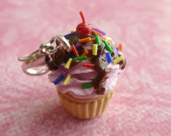 Cupcake Charm Cupcake Jewelry Miniature Food Jewelry Gifts for Her Strawberry Sundae Cupcake Polymer Clay Cupcake