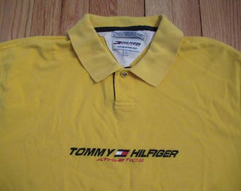 Rare Vintage Tommy Hilfiger Athletics Polo Rugby Style Shirt Size Large Yellow