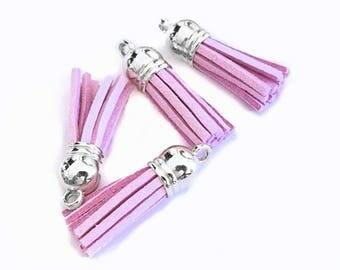 Tassel Charms - Small Tassels - 10 Light Purple Mini Tassels - Silver Cap - Tassels for Jewelry - Purse Tassel - Key Chain Tassel - TC-S072