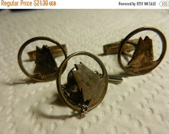 Summer Sale Vintage Cut Out Coin Silver Cuff links with Tie Pin