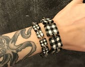 Gingham bracelets - handmade with polymer clay, inspired by what Nina Garcia was wearing on Project Runway