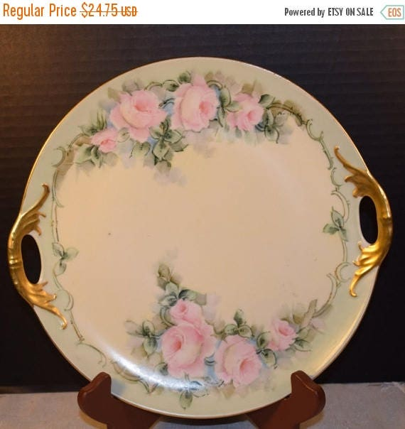 delayed shipping triple crown china germany floral rose serving tray plate vintage gold double. Black Bedroom Furniture Sets. Home Design Ideas